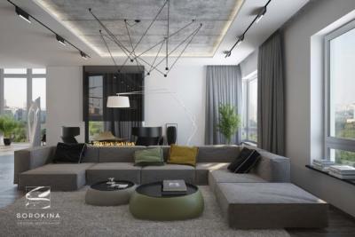 интерьер гостиной в современном лофте