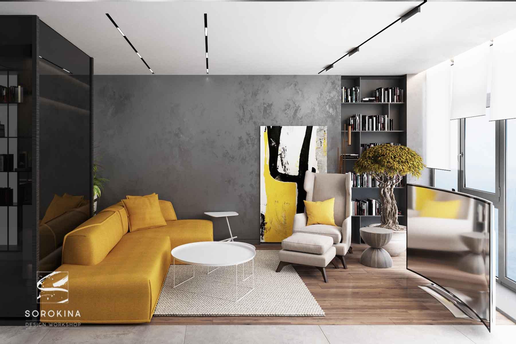 интерьер-гостиной-в-Sea-view-apartment