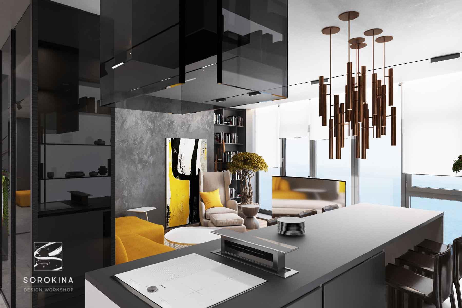 интерьер-кухни-Sea-view-apartment