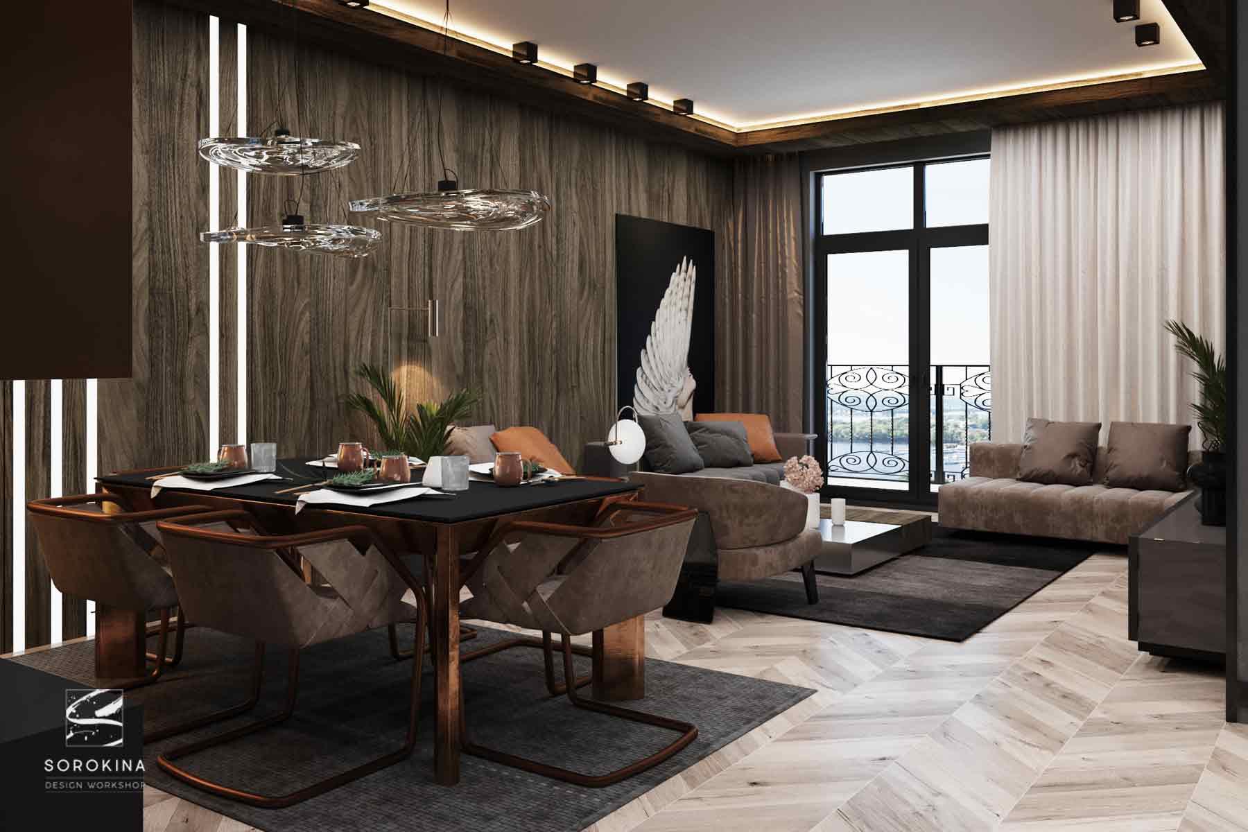 Дизайн-интерьера-гостиной-Грей-апартмент
