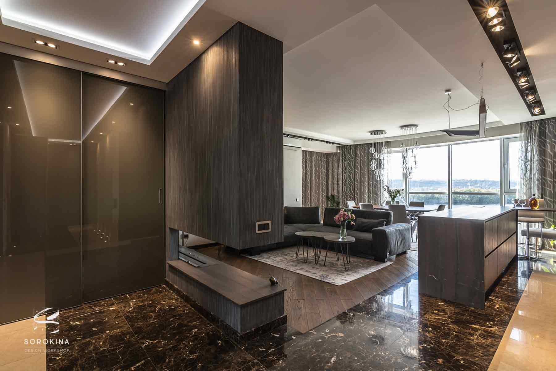 Дизайн-интерьера-гостиной-с-биокамином-Night-Forest