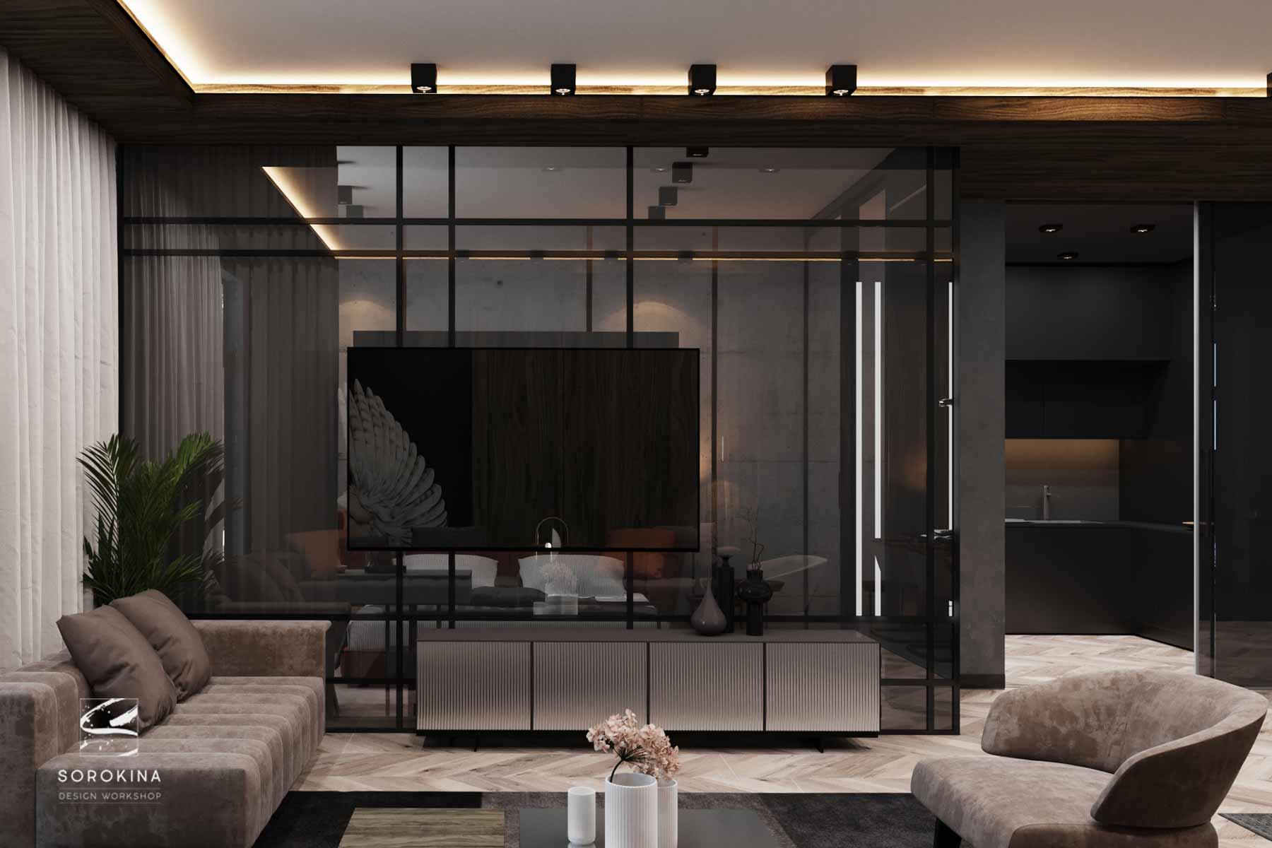 Дизайн-интерьера-гостиной-1-Грей-апартмент